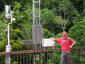 Dr Mike Liddell JCU with Micromet Weather Station on Canopy Tower